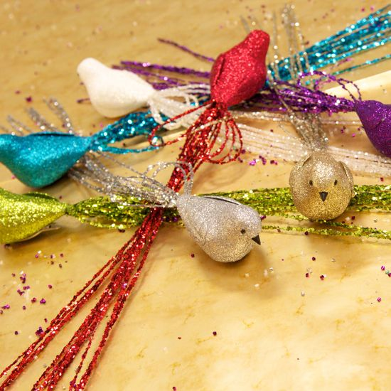 Long Tail Bird ornaments. Glitter, sparkle and shine.