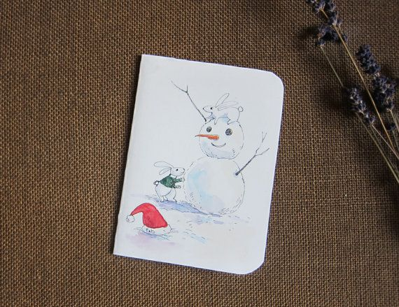 Christmas card ,Hand made cards original artwork by Fahfield paint by Fahfield, kr35.00