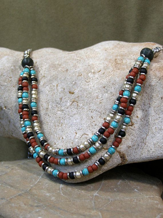 Womens Necklace Multi Strand Necklace Beaded by StoneWearDesigns