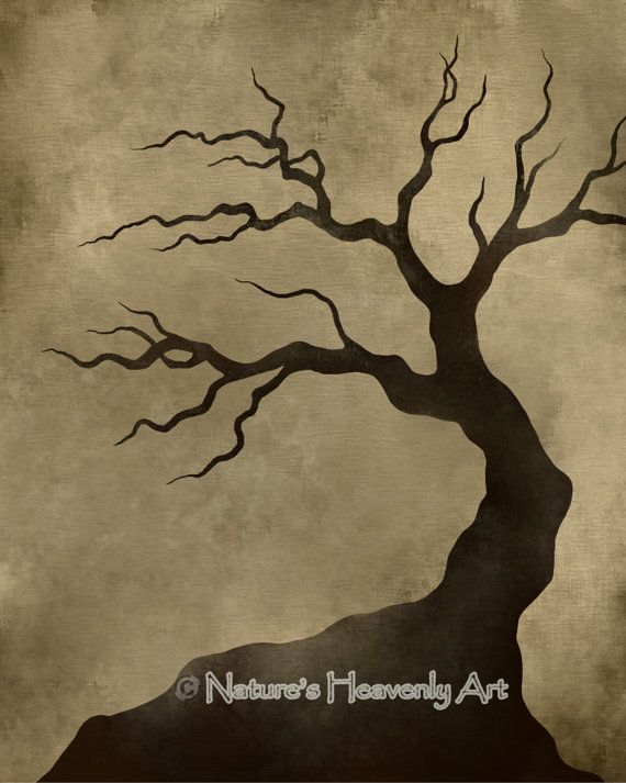Bare Tree Silhouette 8 x 10 Art Print, Crooked Spooky Branches, Natural Earthy Colors, Brown Wall Decor, Tan (99)
