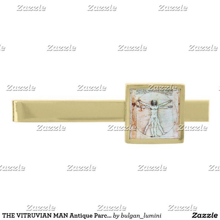THE VITRUVIAN MAN Antique Parchment Gold Finish Tie Bar #fashion #architect #leonardodavinci #medical #scientist #body