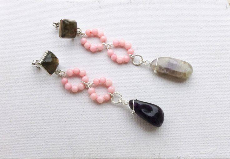 silver drop earrings, raw amethyst drop and pink coral beads, square labradorite silver post, long dangle earrings, statement OOAK earrings