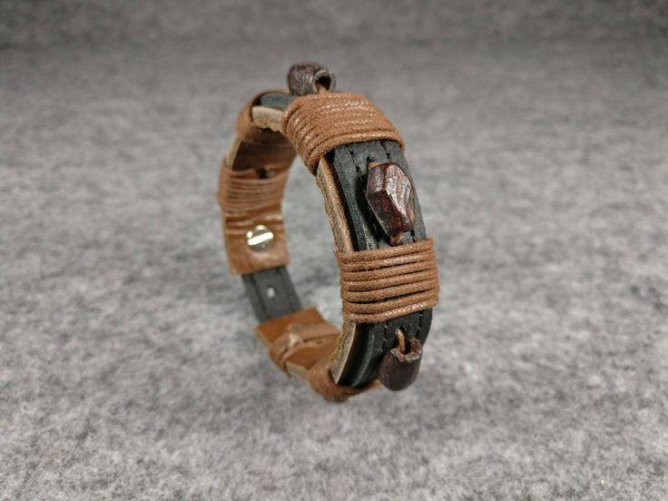 BROWN LEATHER CUFF, Bracelet for men, Mens Leather Bracelet, Handmade Leather Bracelet, Leather Cuff Bracelet, Beads Bracelet Cuff by TrendyCraftsStudio on Etsy