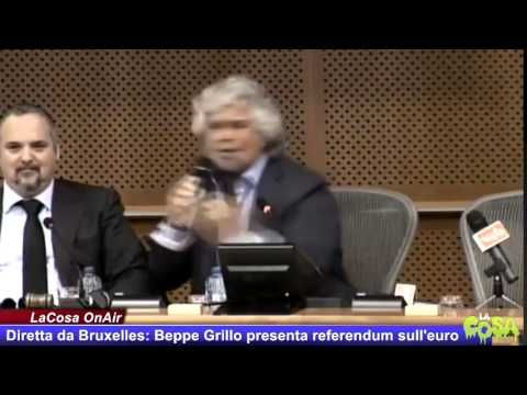 INTERVENTO INTEGRALE - Beppe presenta il referendum sull'Euro a Bruxelles