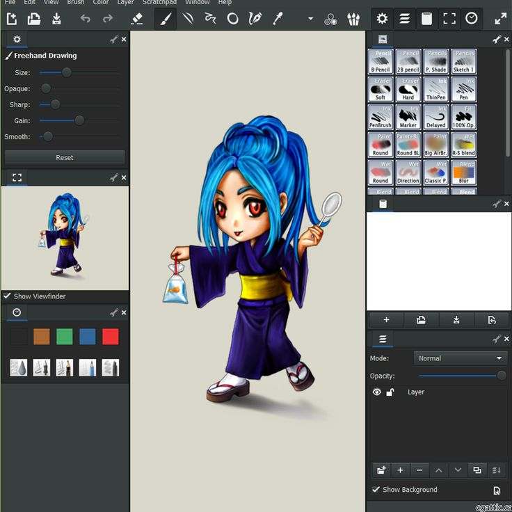 MyPaint is a free drawing software designed to mimic tradtional media due to its high assortment of programmed media brushes.