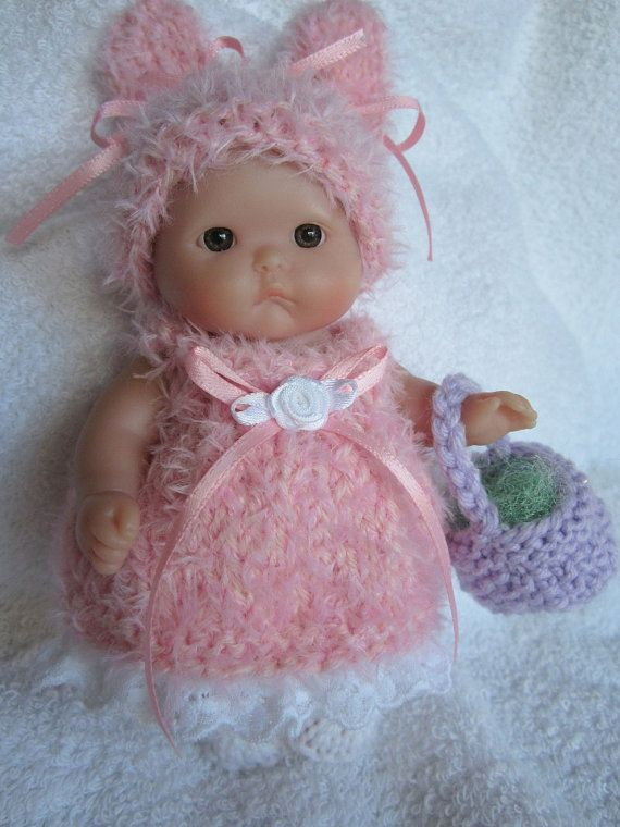Knitted Easter Bunny Baby Doll Dress Fluffy Pink Set For 5 Inch