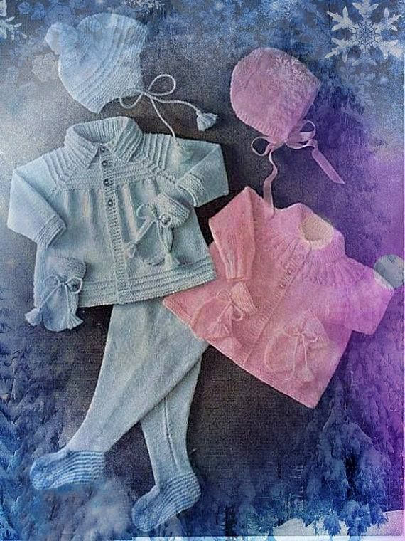 Do you remember the lovely pram sets that baby wore? Often granny or mum would knit them.