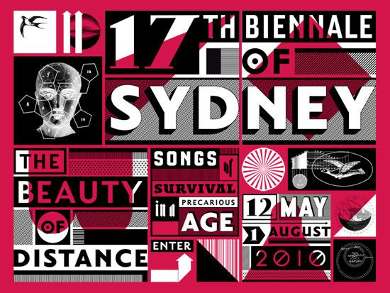British pioneering graphic designer Jonathan Barnbrook's poster for the Sydney Biennale (2010) http://designmuseum.org/design/jonathan-barnbrook