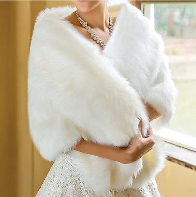 Warm Winter Shawl Bridal Jacket Wraps Cape Faux Fur Plus Size Wedding Coat Shrug
