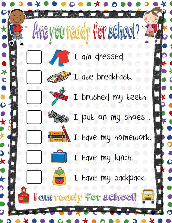 Ready for School Checklist- Refrigerator Reminder-Printable, Instant Download on Etsy, £1.98