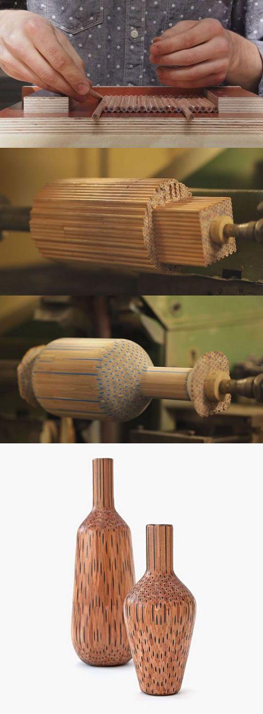 Man Turns Pencils Into Beautiful Vases