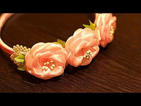 Цветы из Лент Своими Руками с Бисерными Лепестками | KANZASHI - YouTube
