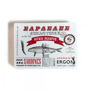 #ergon-aegean-sea-sardines-piquant-in-vegetable-oil, #packaging, @isleofolive, London