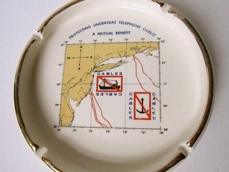 Vtg Round ASHTRAY Dish/Bowl-PROTECTING UNDERSEAS TELEPHONE CABLES-East Coast Map  | eBay