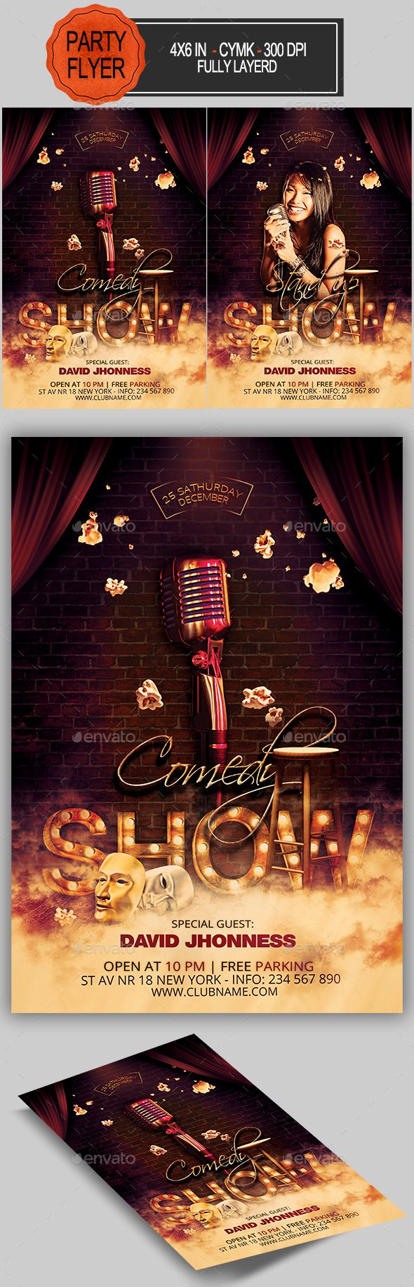 Comedy Show Flyer Template PSD                                                                                                                                                                                 More