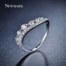 NEWBARK Charm Ring 18K Fehér Aranyozott Brilliant kerek vágott Cubic cirkónium Romantikus Gyűrűk For Women CZ gyémánt ékszerek (Kína (szárazföld))