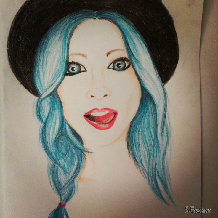 blue hair woman - colored pencil