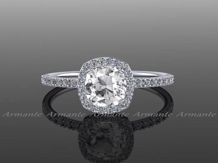 Halo Diamond White Sapphire Engagement Ring Cushion Cut 14k White Gold Wedding Ring, Re00082