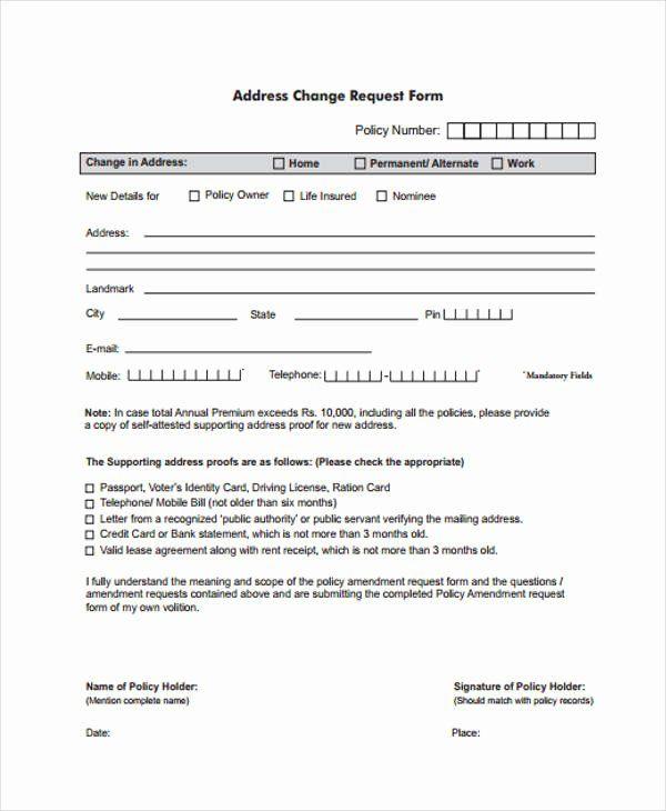 Sample Change Request Form Elegant Free Change Forms Change Request Change Of Address Order Form Template