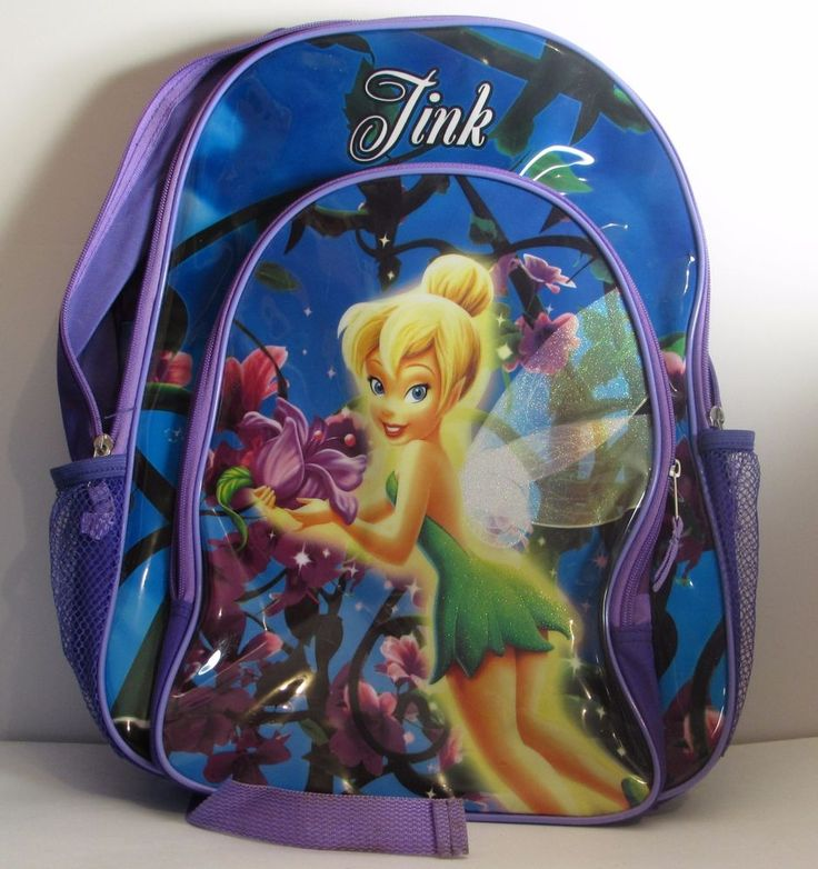 Purple Disney Pixar Fairies Tinkerbell Canvas Vinyl Backpack School Bag Tink #Disney
