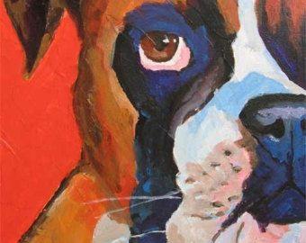 Boxer perro impresión del arte de la pintura de acrílico Original - 11 x 14