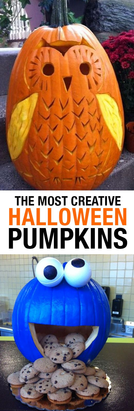 Whether you enjoy carving or painting best, you'll love these inspiring ideas for your Halloween Pumpkin! Disney, Cookie Monster, other animals and more.