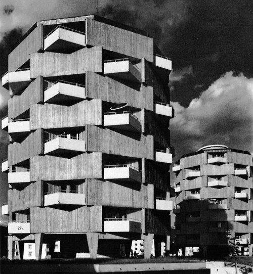 Block of Flats, Lahr, Germany, 1959-62  (Heinrich Doll, Hans Walter Henrich & Klaus Humpert forState Building Department II): Department Ii, Brutalist Architecture, Building Department, Block, Germany, Heinrich Doll