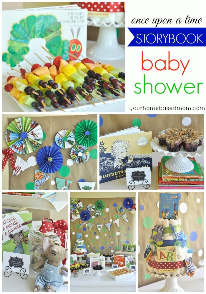 This storybook baby shower is so fun! All the food matches a children's storybook and decor was made out of book pages!