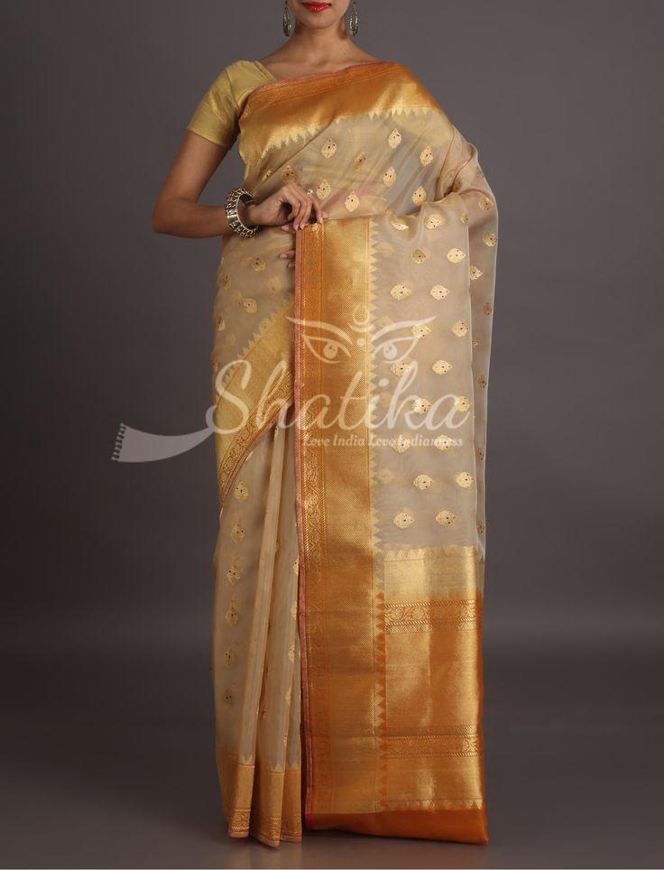 Shilpa Cream And Mustard With Golden Bootis Banarasi Organza Silk Saree