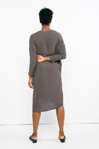 beea397cd3 Long Sleeve Harper Dress in Linen Gauze Charcoal