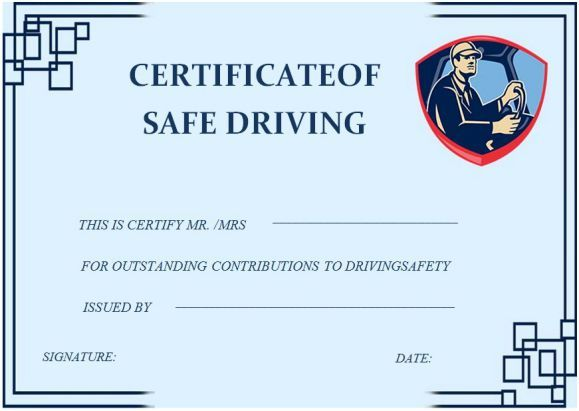 Safe Driving Certificate Template 20 Printable Certificate