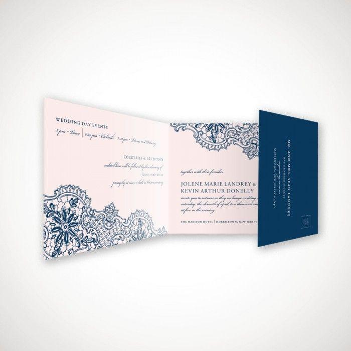 sample spanish wedding invitations%0A Lace in Navy AllInOne Wedding Invitation