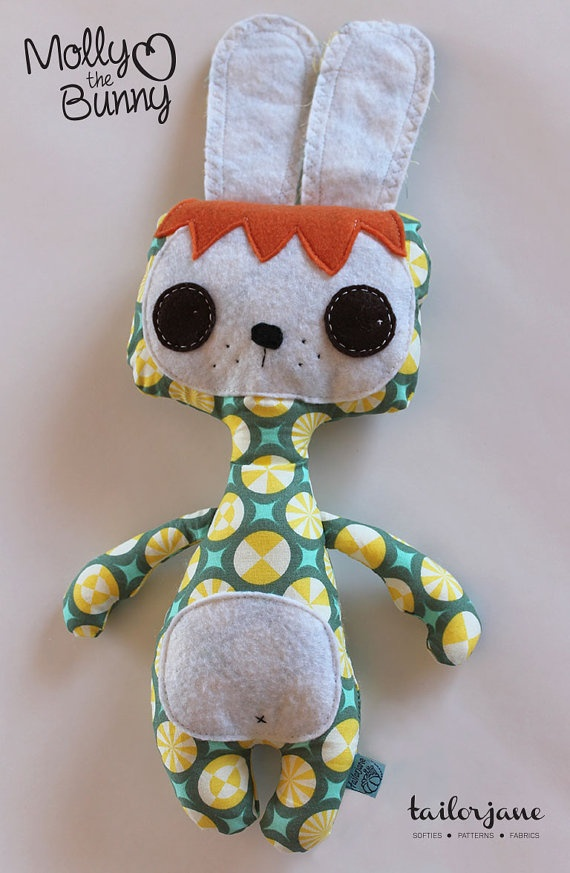 Molly the Bunny softie in taffy by tailorjane on Etsy, $30.00