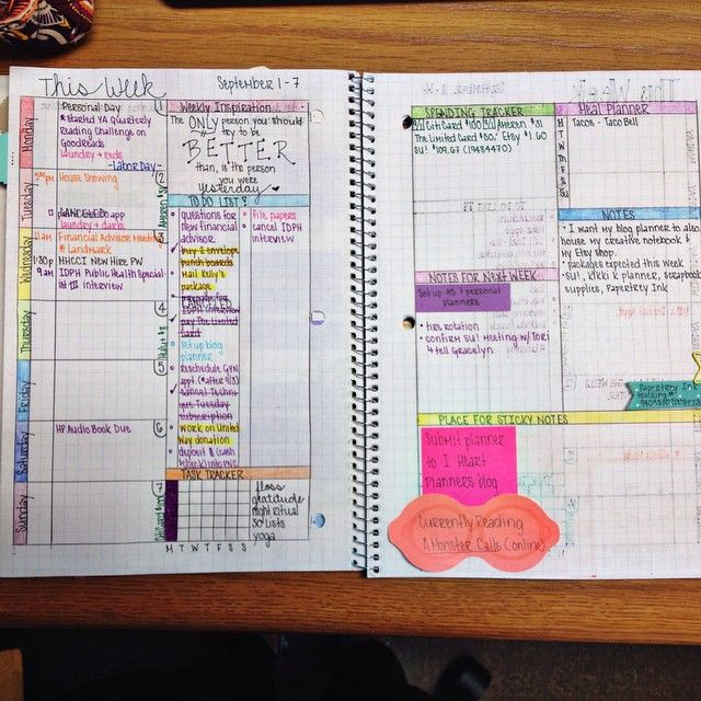 weekly spread in #diyplanner created in a graph notebook