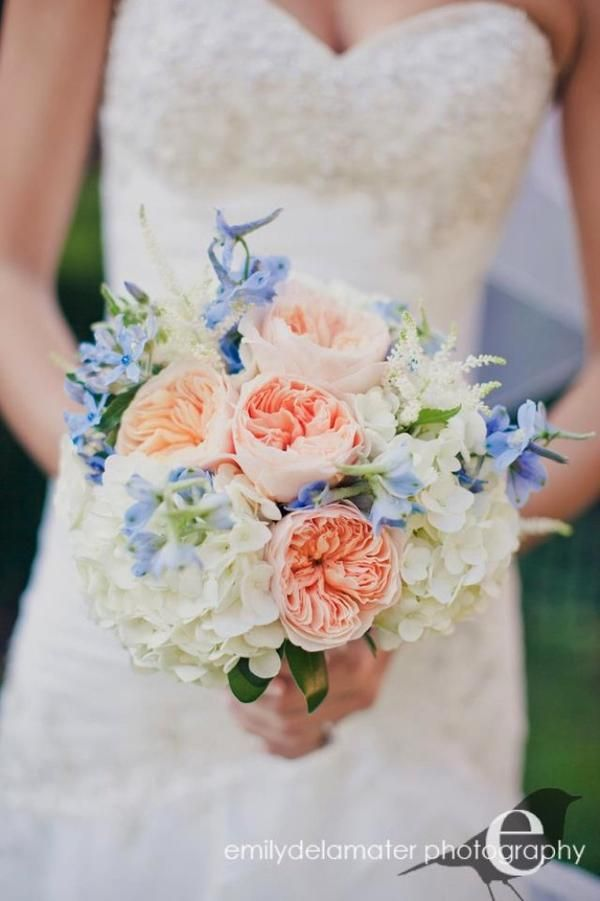 Touches of blue for bridal bouquet (but again, not a fan of the peach/apricot colour)