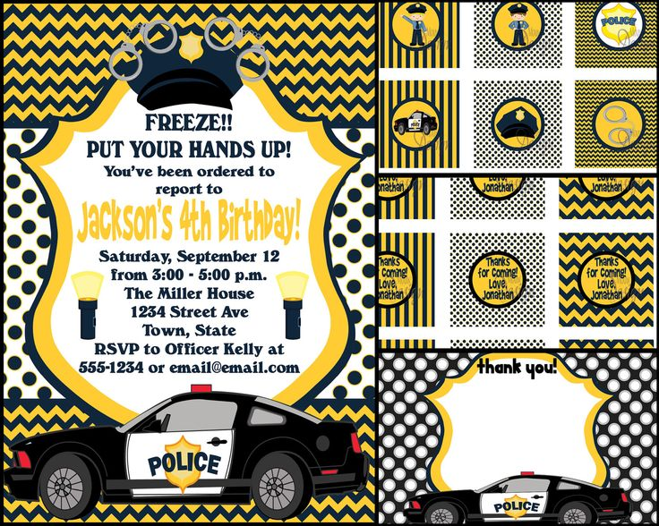 Police Birthday Invite With Free Cupcake Tags Favor Tags Thank
