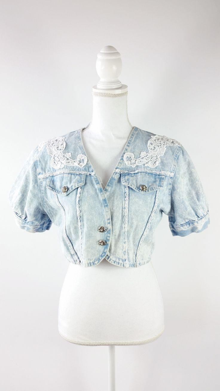Vintage 1980s Blue Acid Wash Jean Denim Button Up Cropped Jacket Sz Medium