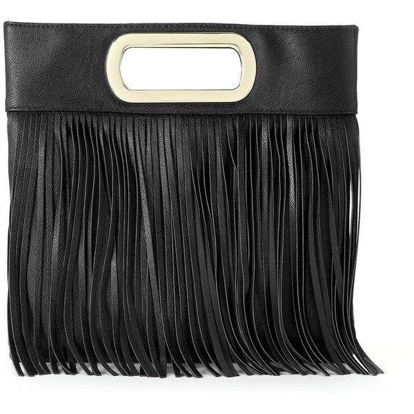 Gunne Sax by Jessica McClintock Fringed Open-Handle Clutch (Black) (€62) ❤ liked on Polyvore featuring bags, handbags, clutches, black, fringe handbags, fringe clutches, black handbags, black fringe handbag and print handbags