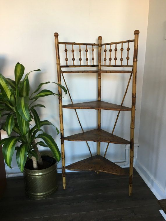 Antique Bamboo Shelf - Wood and Bamboo Book Shelf $125.00