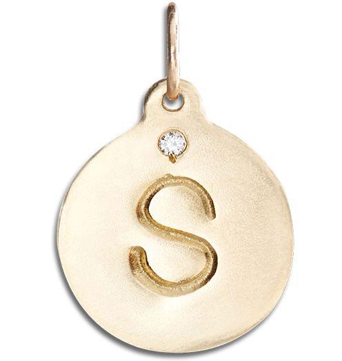 "14K Yellow Gold Single Diamond ""S"" Alphabet Charm"