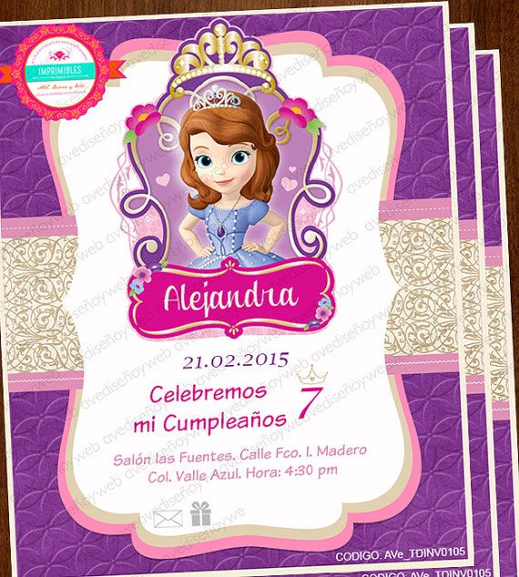 Invitaciones Princesa Sofia Invitaciones por AVeDisenoImprimible