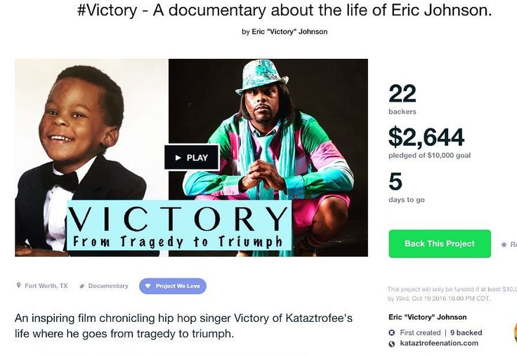 Community we need your help!! Only 5 days left. ericjohnsonfilms.com Thank you Renata Liggins for your pledge & to everyone who has pitched in!! #Victory of @kataztrofee #documentary #film #indie #tragedy2triumph #socialjustice #changemaker #hiphop #KataztrofeeReliefFund #crowdfunding #Kickstarter