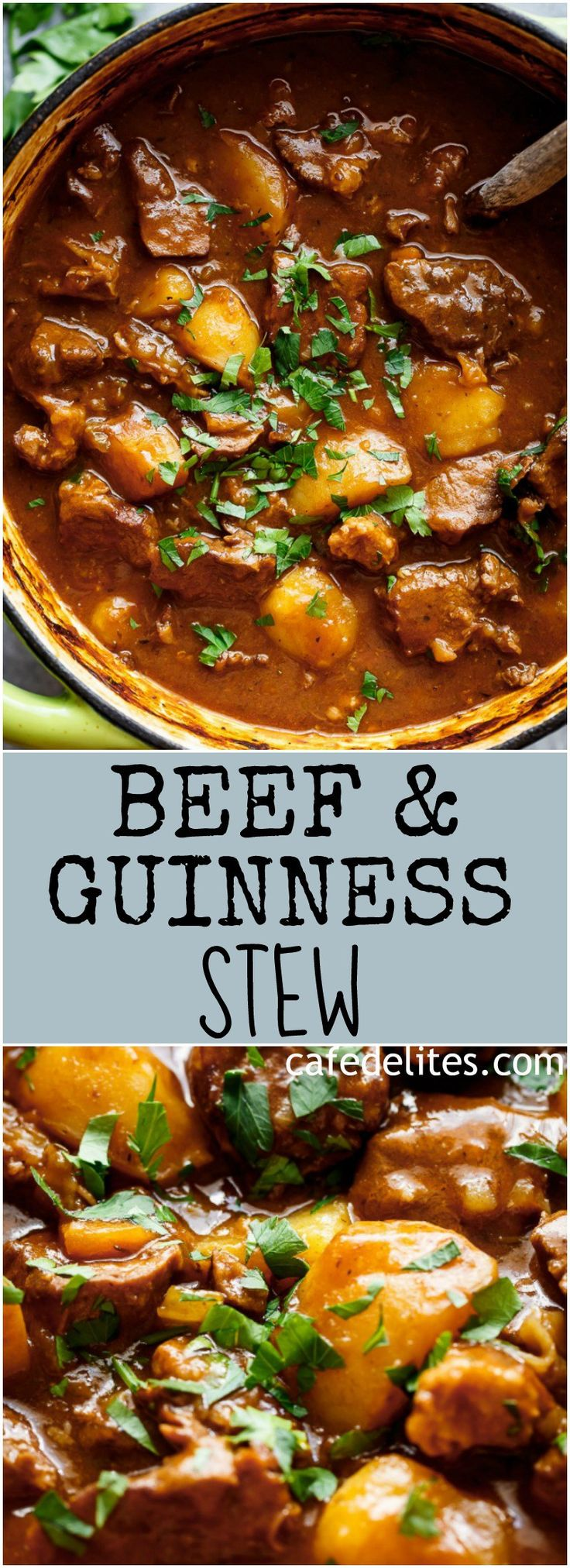 Beef And Guinness Stew is a heart warming bowl of comfort! Oven slow cooked beef, simmered in a rich Guinness gravy, with so much flavour! | https://cafedelites.com