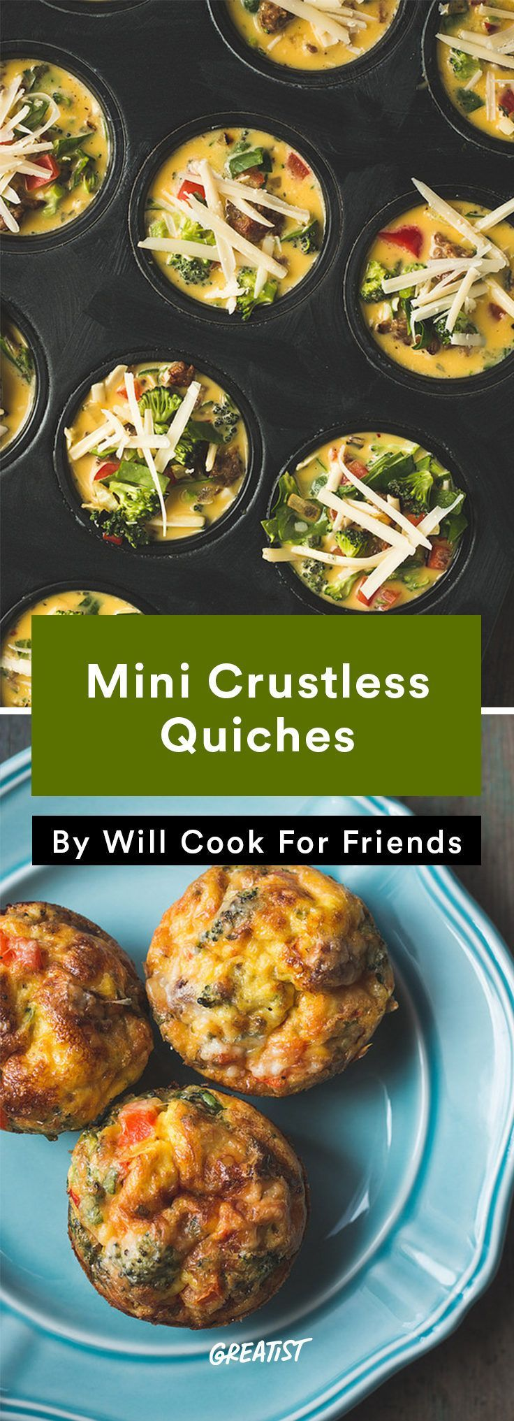 Mini Crustless Quiches; Easy low-carb high flavor mini quiches great as appetizers, snacks, breakfast, or anytime!