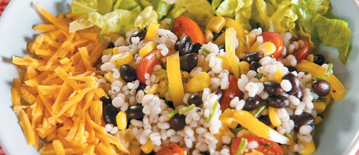 The combination of barley, black beans and cheese provides enough protein to make this a vegetarian dish.   Alberta Barley photo
