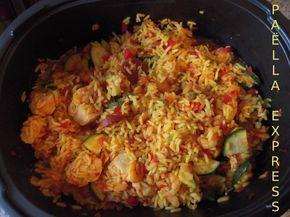 PAËLLA EXPRESS (recette TUPP dans l'Ultra Pro)ne pas dépasser la dose de 350 400 g max de riz. Choisir chorizo fort, rajouter des calamars, cuire 45 mn max au four sinon poulet trop sec