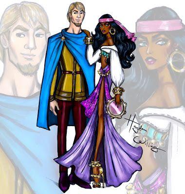 Hayden Williams Fashion Illustrations  'Disney Darling Couples' by Hayden Williams: Esmeralda & Phoebus