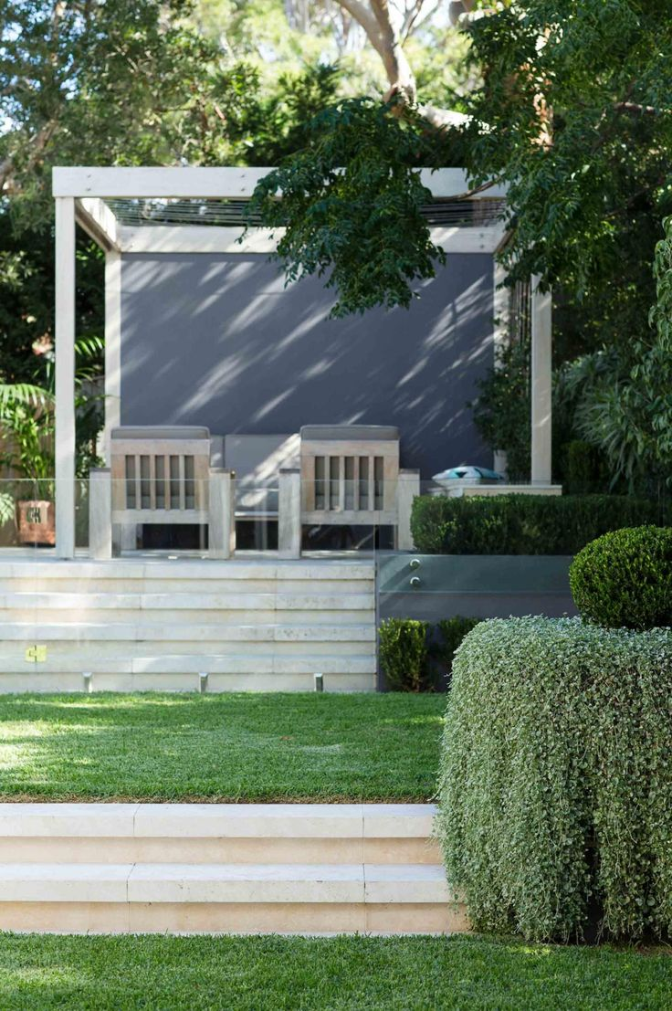 Chic modern garden design in chelsea by declan buckley with steps and - Led Strip Lighting Under Each Step Sends Out A Soft Glow At Night Small Speakers Are Visible On The Bottom Step
