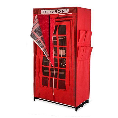 Armario para ropa de tela con el diseño inglés de una cabina telefónica aprox. Ancho 87 x fondo 45 x altura 157 rojo - http://vivahogar.net/oferta/armario-para-ropa-de-tela-con-el-diseno-ingles-de-una-cabina-telefonica-aprox-ancho-87-x-fondo-45-x-altura-157-rojo/ -