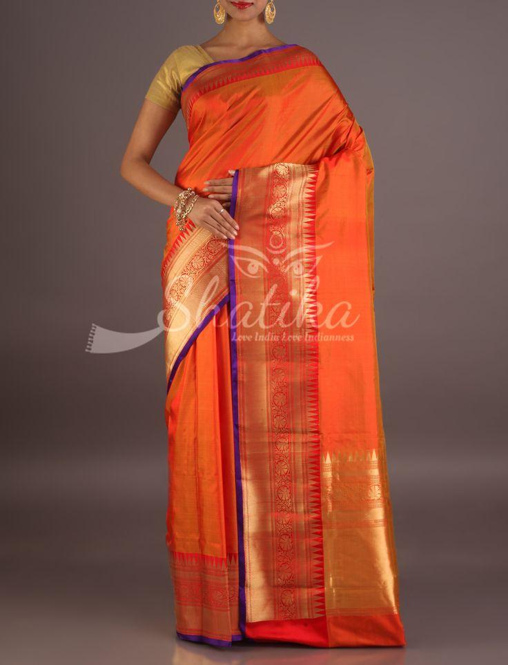 Ruby Orange And Gold Orante Border Pallu Silk Saree From Banaras
